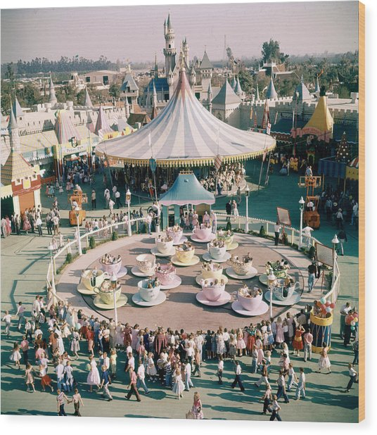 Teacups At Disneyland Wood Print by Loomis Dean