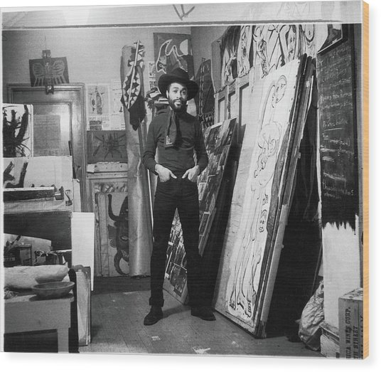 Ted Joans In His Loft Wood Print by Fred W. McDarrah