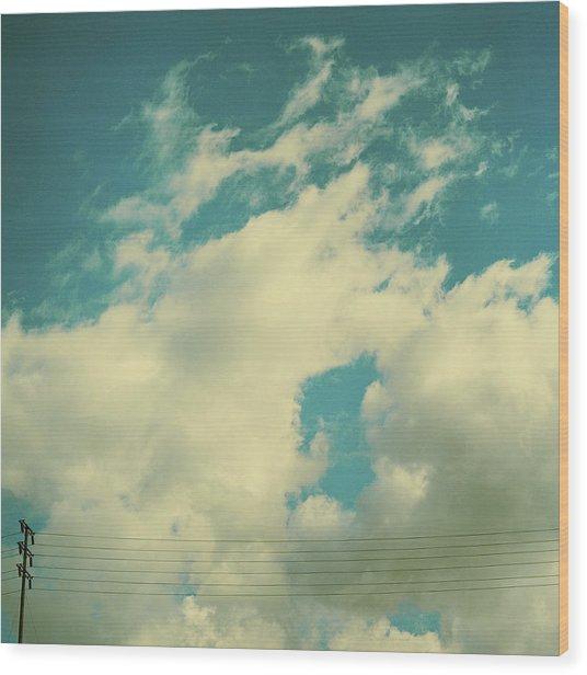 Telephone Lines Against Cloudy Blue Sky Wood Print by Zen Sekizawa