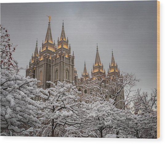 Temple In The Snow Wood Print