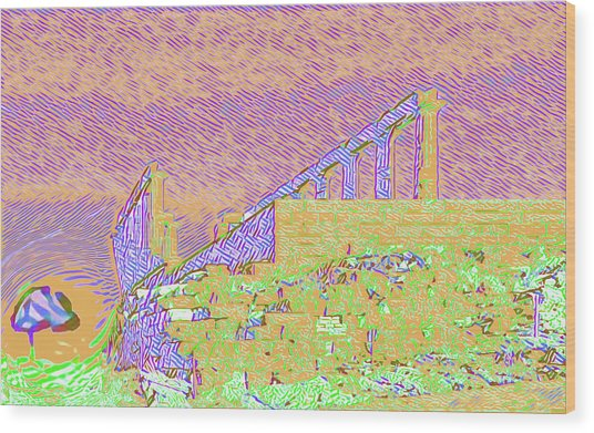 Abstract Of The Temple Of Poseidon Wood Print