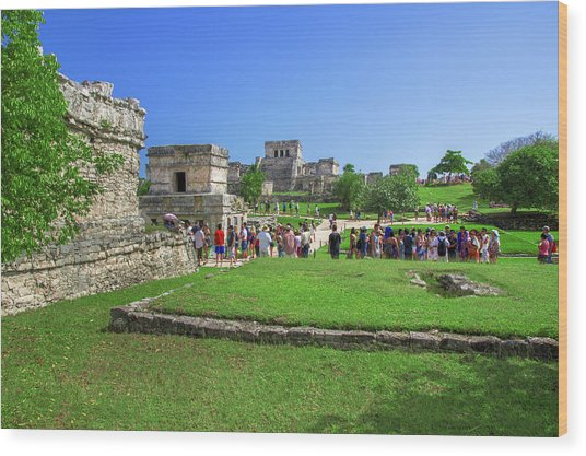 Temples Of Tulum Wood Print