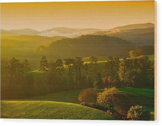 Smokey Mountain Sunrise Wood Print
