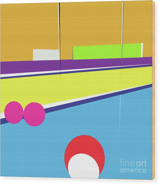 Tennis In Abstraction Wood Print