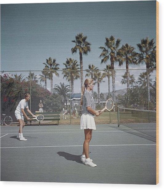 Tennis In San Diego Wood Print by Slim Aarons