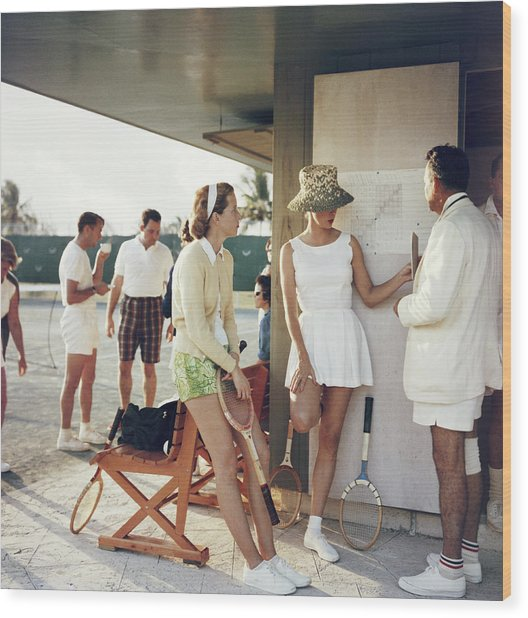 Tennis In The Bahamas Wood Print by Slim Aarons
