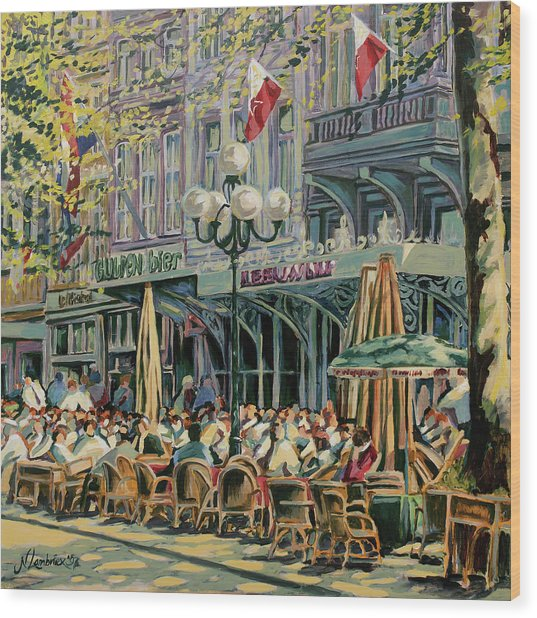 Terrace At The Vrijthof In Maastricht Wood Print