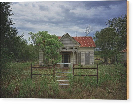 Texas Farmhouse In Storm Clouds Wood Print