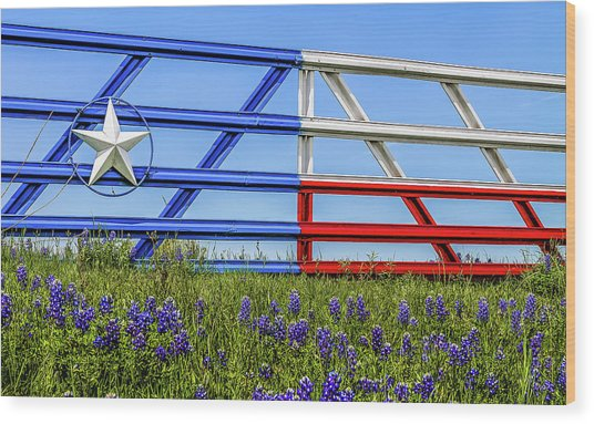 Texas Flag Painted Gate With Blue Bonnets Wood Print