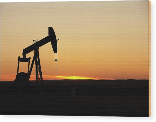 Texas Oil Well Wood Print by Clickhere