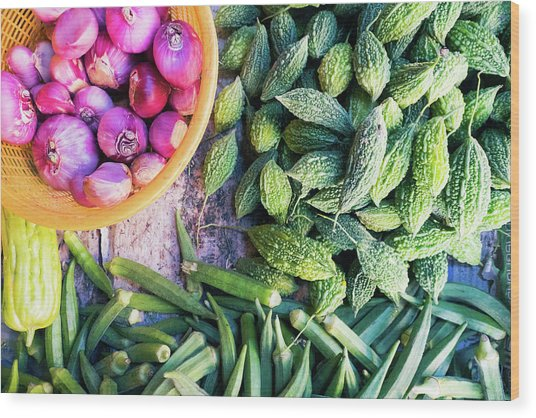 Thai Market Vegetables Wood Print