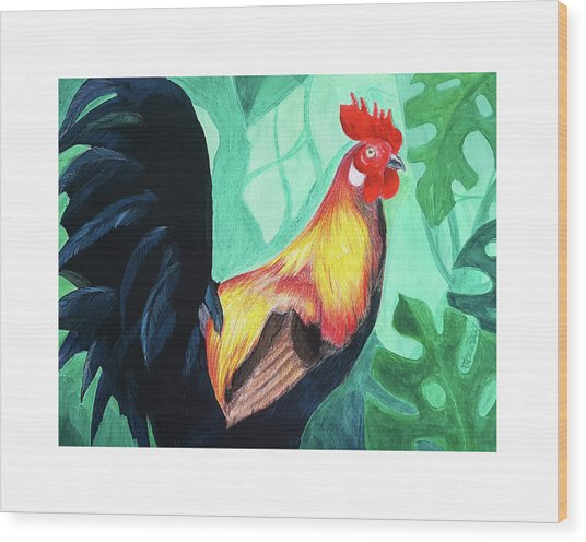 Wood Print featuring the digital art That Rooster by Lucas Boyd