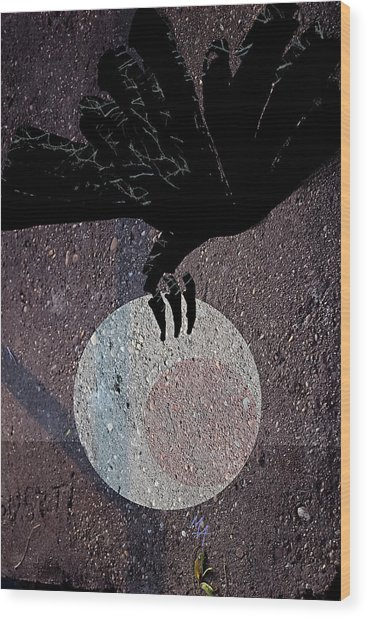 Wood Print featuring the digital art The Abduction Of The Moon by Attila Meszlenyi