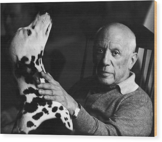 The Artist Pablo Picasso 1881-1973 With Wood Print