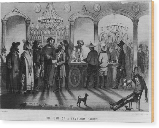 The Bar Of A Gambling Saloon Wood Print by Fotosearch