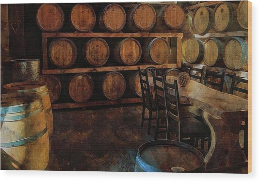 Wood Print featuring the photograph The Barrel Room by Thom Zehrfeld