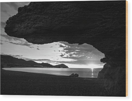 The Beach Of The Sculptures At Dawn In Almeria Wood Print