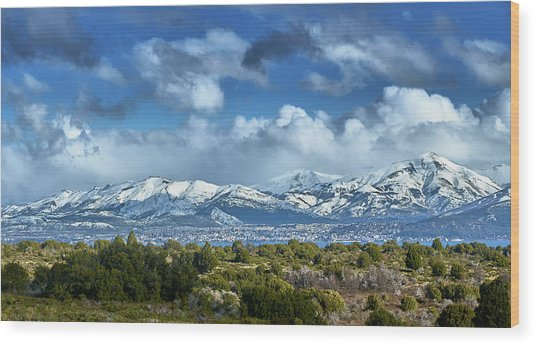 The City Of Bariloche And Landscape Of Snowy Mountains In The Argentine Patagonia Wood Print