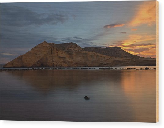 The Closed Cove In Aguilas At Sunset, Murcia Wood Print