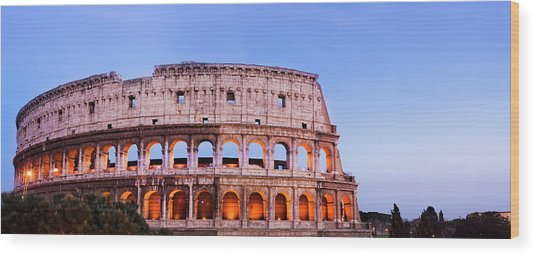 The Colosseum In Rome Italy Wood Print by Deejpilot