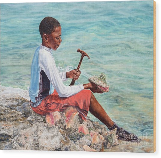 The Conch Boy Wood Print