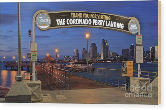 The Coronado Ferry Landing Wood Print