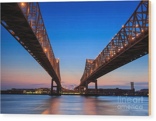 The Crescent City Connection Bridge On Wood Print