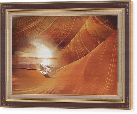 The Desert And The Tide Fantasy Wood Print