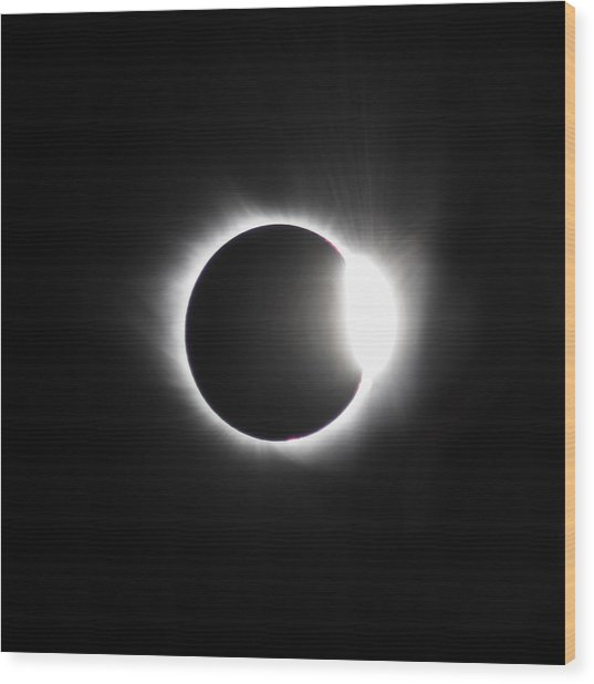 The Diamond Before Totality  Wood Print by Christine Buckley