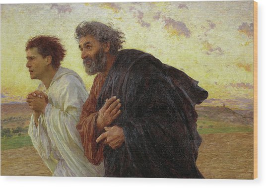 The Disciples Peter And John Running To The Tomb On The Morning Of The Resurrection, 1898 Wood Print