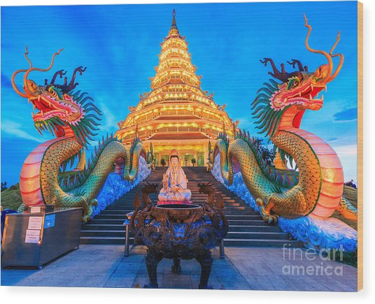 The Dragon In Temple Wat Hyua Pla Kang Wood Print by Apiguide