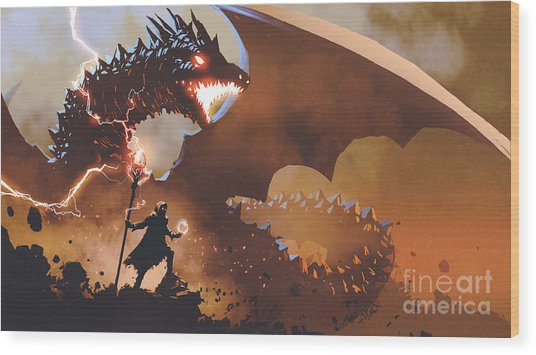 Wood Print featuring the painting The Dragon Wizard by Tithi Luadthong