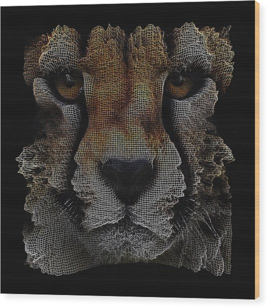 The Face Of A Cheetah Wood Print