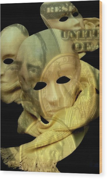 Wood Print featuring the digital art The Face Of Greed by ISAW Company