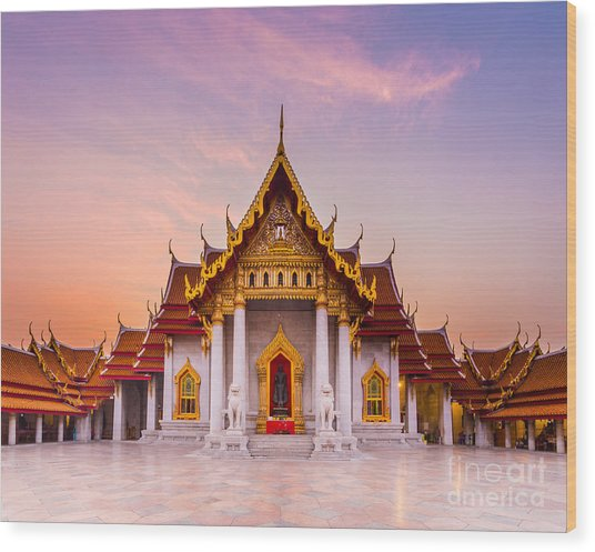 The Famous Marble Temple Benchamabophit Wood Print
