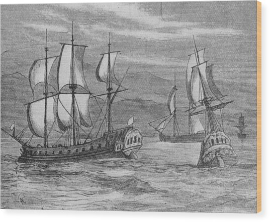 The First Fleet Wood Print by Hulton Archive
