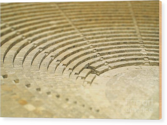 The Fragment Of Ancient Theatre In Wood Print
