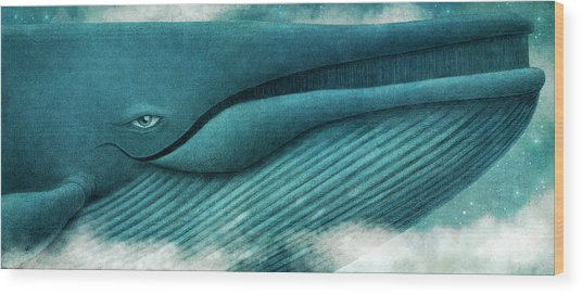 The Great Whale Wood Print