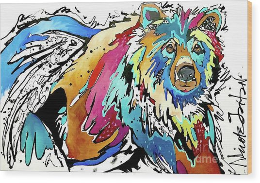 The Grizzly Details Wood Print