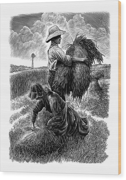 Wood Print featuring the drawing The Harvesters - Bw by Clint Hansen