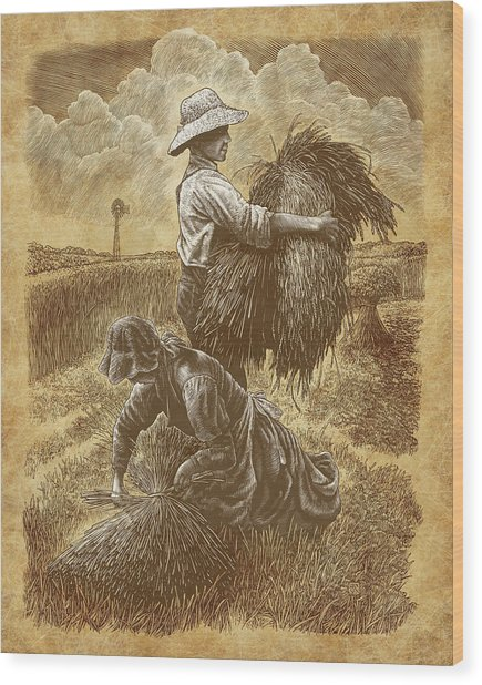 Wood Print featuring the drawing The Harvesters by Clint Hansen