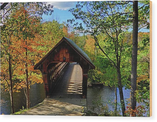 The Henniker Covered Bridge Henniker Nh New Hampshire In Autumn Shadows Wood Print