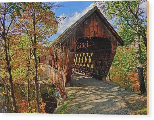 The Henniker Covered Bridge Henniker Nh New Hampshire In Autumn Wood Print