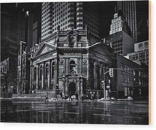 The Hockey Hall Of Fame Toronto Canada Reflection Wood Print by Brian Carson