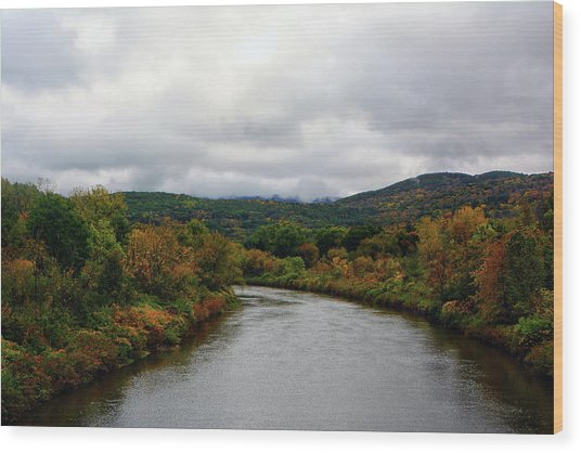 Wood Print featuring the photograph The Housatonic River From A Bridge In Adams Ma by Raymond Salani III
