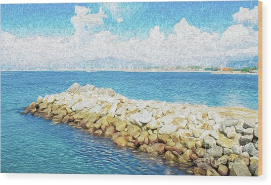 Wood Print featuring the digital art The Jetty In Manzanillo, Mexico by Kenneth Montgomery