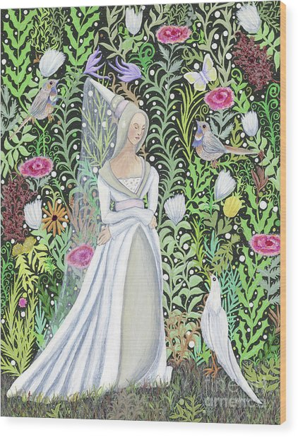 The Lady Vanity Takes A Break From Mirroring To Dream Of An Unusual Garden  Wood Print