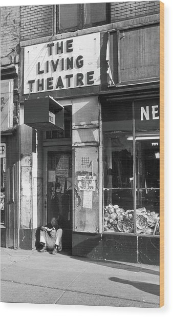The Living Theatre, Closed Wood Print by Fred W. McDarrah