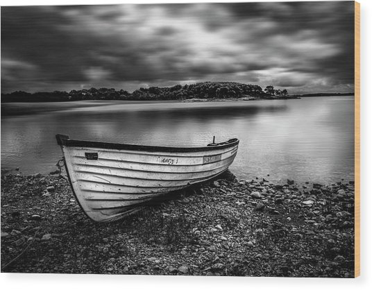 The Lone Boat Wood Print