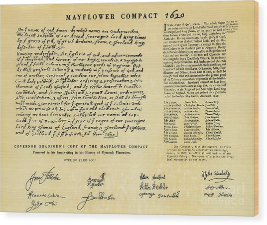 The Mayflower Compact  Wood Print